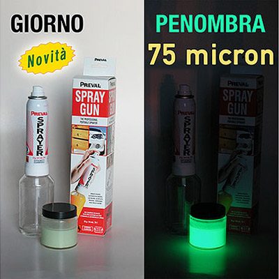 Nextglow kit 2 - Glow in the Dark Paint (phosphorescent) 75 microns 100 gr with Spray Gun