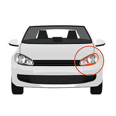 Front Indicator without Bulb Holder - Left side, White -