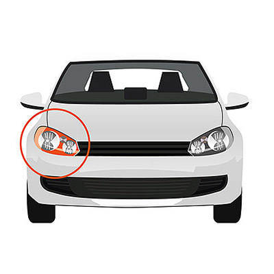 Indicator Lateral Installation with Bulb Holder - Left side, White -