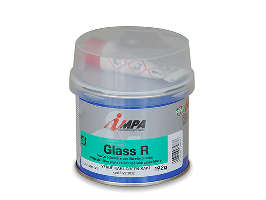 Two-pack Filler paste reinforced with glass fibers