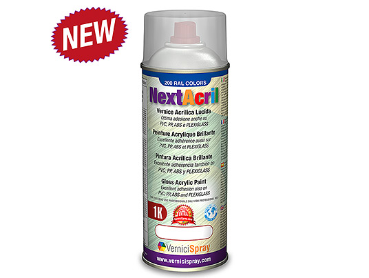 NextAcril - Gloss Acrylic Spray Paint high anchoring power even for PVC e ABS
